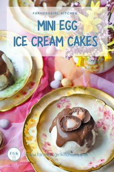 Mini Egg Ice Cream Cakes are little individual desserts that combine chocolate and vanilla ice cream with a layer of crushed candy-covered mini eggs. They are topped with chocolate ganache and a mini creme egg for the ultimate Easter spring holiday treat. Easter Sunday Dinner Recipes, Easy Easter Desserts, Easter Recipes, Raspberry Ripple Ice Cream, Lime Ice Cream, Individual Desserts, Mini Desserts, Chocolate Ice Cream, Chocolate Ganache