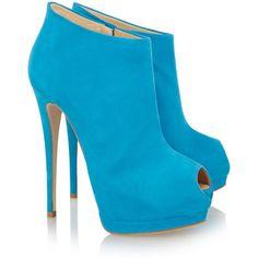 Giuseppe Zanotti Suede peep-toe platform ankle boots ($895) ❤ liked on Polyvore