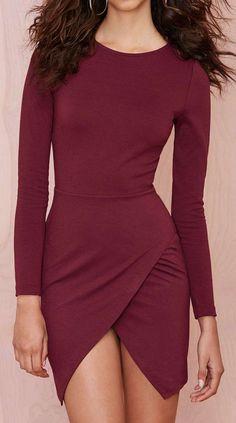 Burgundy tulip dress