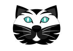 Masque de chat couleur noir et blanc pour le Carnaval Imprimer ce modèle de…