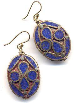 Nepal Lapis Lazuli Earrings, Blue Earrings, Ethnic Earrings, Nepal beads on 18K Gold Filled wire, handmade Jewelry by AnnaArt72. $35.00, via Etsy.