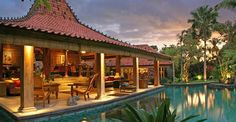 Villa Des Indes, named after a famous early 20th century hotel, a century old antique Javanese 'Joglo'.