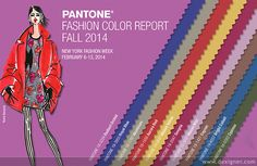 Pantone colours Fall 2014 The top colors for women's fashion for fall 2014 are Radiant Orchid, Sangria, BrightCobalt, Cypress, RoyalBlue, AuroraRed, Aluminum, MauveMist, Cognac, and MistedYellow.  Read more: http://www.dexigner.com/news/27334