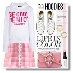 """In My Hood: Cozy Hoodies"" by sans-moderation ❤ liked on Polyvore featuring Prada, Dsquared2, Converse, Miu Miu, Bloomingdale's, Bobbi Brown Cosmetics, Dolce&Gabbana, Hoodies, polyvoreeditorial and polyvorecontest"