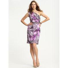 Banana Republic BR Monogram Dream Floral Oneshoulder Dress ($140) found on Polyvore