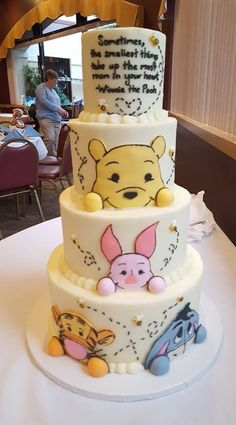100 acre woods side of 360 baby shower cake winnie pooh torte, winnie the pooh Baby Cakes, Baby Shower Cakes, Cupcake Cakes, Baby Shower Desserts, 3d Cakes, Baby Shower Cake Decorations, Fun Cupcakes, Winnie Pooh Torte, Winnie The Pooh Birthday