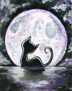 Black Cat Print, Full Moon Art, Night Sky, 8x10 Wall Art, Pet Illustration, Animal Silhouette, Childrens Room Art, Purple and White
