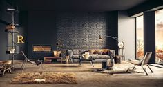 Home & Apartment, Masculine Lounge Also Black Brick Wall Interior Decorating Plus Leather Rug With Lounge Chair Wooden Floor And Wall Art Decor Coffee Table: Contemporary Room Designs within The Home