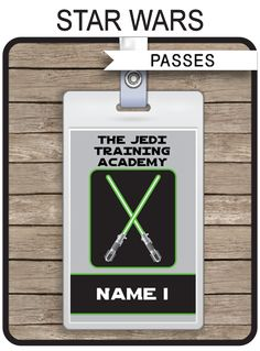 Star Wars Party Jedi Academy Training Passes | Custom Party Favors | Editable DIY Template