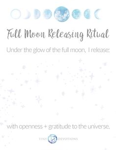 Let go + Release! Printable Full Moon Releasing Ritual on Blog108 #fullmoon #aquarius #augustfullmoon