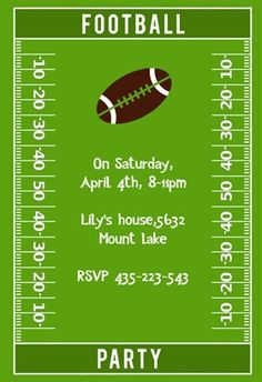 """Football Party""  printable invitation template. Customize, add text and photos. Print or download for free!"