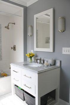 White Lacquered Mirror - Contemporary - bathroom - Benjamin Moore Marina Gray - Simply Modern Home Bathroom Color Schemes, Bathroom Paint Colors, Kid Bathroom Decor, Bathroom Ideas, Family Bathroom, Downstairs Bathroom, Bathroom Organization, Grey Bathroom Vanity, Bathroom Vanity Designs