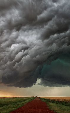 ~~Turn Back Now The hail core of a severe storm looms over this Logan, Oklahoma dirt road by Jason Branz~~ Weather Storm, Wild Weather, Storm Clouds, Sky And Clouds, Beautiful Sky, Beautiful World, Tornados, Thunderstorms, Nature Sauvage