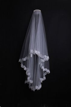 Custom-made Bridal 2-layers Lace Trim Soft Veil