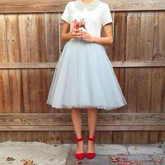 Dove Gray tulle skirt, great red heels, white blouse