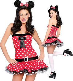 Playful Mouse - Womens Minnie Mouse Sexy Halloween Costumes Three Piece Playful Mouse Costume includes Strapless Polka Dot Dress with Built in Petticoat, Belt and Mouse Ears with Matching Bow. Shown with Stockings not included.