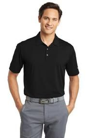NIKE GOLF DRI-FIT VERTICAL MESH POLO-Mens Black Polo, add your logo at UnitedTeamSports.com