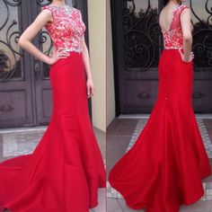Mac Dugg. Dress Elegant Long red dress, with a short tail that could be put up, jewel neckline, illusion of sweetheart, and wrapped with sparkling crystals along the waist.     Worn once.    No trades! Mac Duggal Dresses