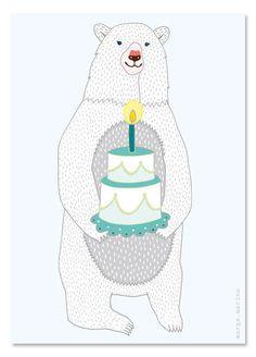 "Grußkarte ""Geburtstags-Bär"" - Illustration // Illustrated birthday postcard with a bear by margamarina via DaWanda.com"