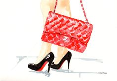 Red Chanel Flap Handbag & Louboutin pumps watercolor illustration by MilkFoam, $50.00