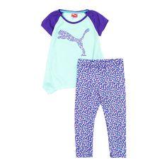 Puma Little Girls Short Sleeve Tunic and Leggings 2-Piece Athletic Set