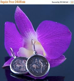 HOLIDAY SALE Ancient Greek Coin Earring - Pegasus Horse Icon - Sterling Silver