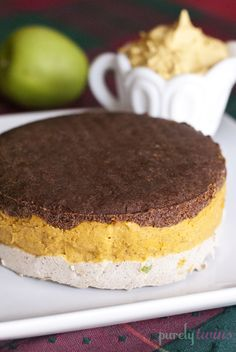 pumpkin apple pie layered cake with pumpkin whipped cream