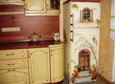 Doing decoupage on fridge is no different than doing decoupage on any large object out there. Here is all you need to know in order to start a project of this kind.