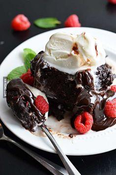 Fudgy Raspberry Dark Chocolate Brownies a la Mode