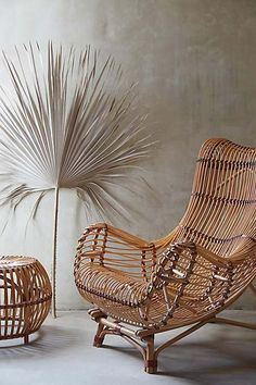 Summer Bohemian Style - Rattan Garden Chair and Stool! Perfect indoors or outdoors on the terrace, patio, veranda! Imagine this chair with a gorgeous blue-and-white indigo patterned fabric cushion and a dark blue painted table and a hanging basket lamp!