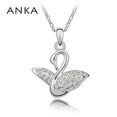 2017 Accessories Jewelry Wholesale rhodium plated Elements Crystal Necklace crystal Animal Pendant Swan Princess Necklace #84163 #Affiliate