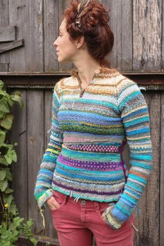 Handmade bright and colorful women sweater