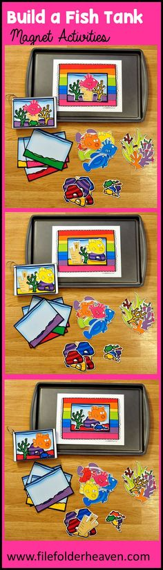 """These Build a Fish Tank Center Activities can be set up as cookie sheet activities, a magnet center or completed as cut and glue activities. This activity includes: 1 background, 14 build a fish tank example cards, and a big set of """"build a fish tank"""" building pieces for creative building (all in color).  In this activity, students work on visual discrimination skills, recognizing same and different, and replicating a model."""