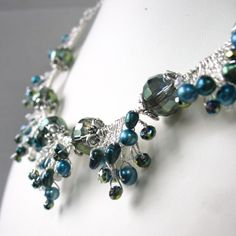 Beaded Wire Twisted Necklace Teal Freshwater Pearl Olive Green Faceted Crystal Triangle Geometric Jewelry Unique Jewellery