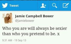 Inspirational tweet from Jamie Campbell Bower
