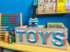 Hand painted Toy Storage Box, Turquoise & Orange, Handlettering Typography, kids storage, playroom d Paint Storage, Kids Storage, Zoo Toys, Dear Zoo, Driftwood Frame, Seaside Art, Wooden Storage Boxes, Oak Stain, Orange And Turquoise