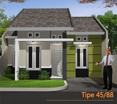 30 Type 45 Minimalist Home Designs Bungalow Floor Plans, Bungalow House Design, Minimalist House Design, Minimalist Home, Build Your House, Building A House, Type 45, Pintura Exterior, Brick Construction
