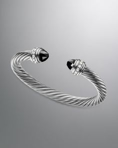 Cable Classics Bracelet with Black Onyx and Diamonds by David Yurman at Neiman Marcus.