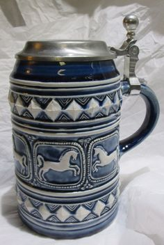 Vintage Germany Marzi Remy 0.5L Beer Stein Tankard Galloping Horses Stoneware