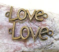 8ST Liebe Wort Antique Bronze Erkenntnisse Anhänger Link Anschluss Messing…