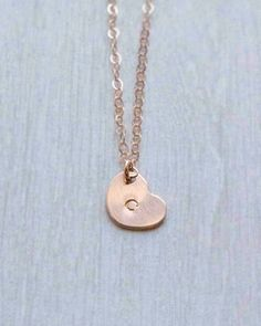 Tiny Personalized Heart Disk Necklace Hand Stamped by Olive Yew