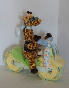 Motorcycle Bike Diaper Cake, Baby Cake, Giraffe, Jungle, Safari,Baby Shower Gift, Centerpiece, Baby Cake, Neutral, New Baby via Etsy