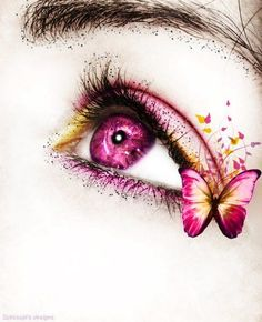 Butterfly Eyes - This is so beautiful! Eye Makeup Art, Pink Makeup, Eye Art, Makeup Eyes, Butterfly Eyes, Butterfly Drawing, Butterflies, Eyes Artwork, Crazy Eyes