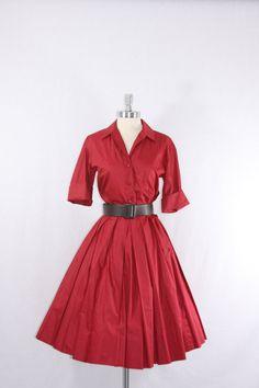 1950's Vintage Dress  Deep Brick Red by VintageFrocksOfFancy, $140.00