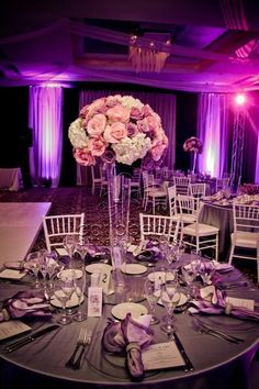 Purple wedding lighting