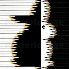 Udo Dittmann - Osterhase #Kalender2017 #Bleistifte #Kunst #calendar2017 #pencils #art  #calvendo #posterlounge #gold #easterbunny #bunny