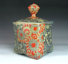 Ceramic storage jar for tea, cookies, coffee.. or just to bring lively color and pattern to your day.