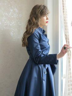 Trench coat imperméable bleu marine doublure bleu à pois blanc Made in France : Manteau, Blouson, veste par zawann