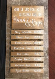 Grandchildren Sign - Grandparents Sign - Gift for Grandparents - Grandparents Gift - Some of our Greatest Blessings call us Nana & Papa - Grandchildren – Grandparents – Nana and Papa Rustic Wood Sign with Name and DOB – Some of our - Cadeau Grand Parents, Ms Project, Grands Parents, Grandchildren, Grandparent Gifts, Grandparents Christmas Gifts, Gift Ideas For Grandparents, First Time Grandparents, Personalized Gifts For Grandparents