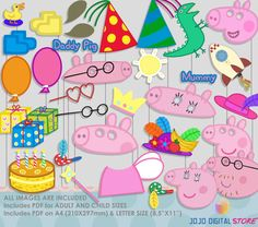 Peppa Pig Party Photo Booth Props-2 Peppa Pig por IraJoJoBowtique